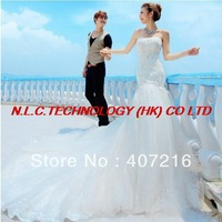 DHL free  Noble princess bride wedding dresses, luxurious strapless erogenous long tail wedding dress