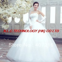 2013 White Sexy Off shoulder flower bride wedding sweet princess Slim wedding 807, dress new arrival fashionable wedding dress
