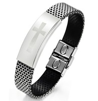 15mm Men Jewelry Stainless Steel Classical Cross ID Bracelet Religious Black Silver Mixed PU Rubber Net Wristband Bangles 19cm