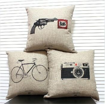 Burlap pillow for sofa simple IKEA style patio furniture pillows decorate tatami mat 1 pcs 45*45cm