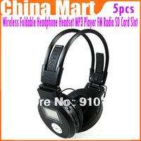 High Quality Wireless Foldable Headphone Headset MP3 Player FM Radio TF Card Slot 5pcs/lot  Free shipping