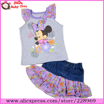 Wholesale 4 sets/lot New Fashion Girls Summer Clothing Suit,Minnie Grey Tops+Denim Flower Skirt Twinset,Children Brand Clothes