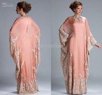 free shipping new 2014 Custom Hot Sale Floor Length Lace Appliqued abaya in dubai Kaftan Bridesmaid Dresses with Long Sleeve