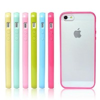 BONWES Hybrid Gummy PC/TPU Slim Protective Case for iPhone 5 5S + screen protective film
