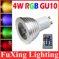 4W GU10 RGB LED Light Bulb 16 Color RGB Change 110V/220V with Remote for home party decoration atmosphere