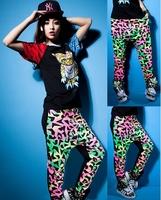 New fashion thin Harem Hip Hop Dance Pants Panelled Spliced Sweatpants Pockets Costumes print patchwork female sports trousers