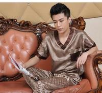 high quallity men pajama sets hot sell Male summer short-sleeve silk sleepwear luxury silk male casual lounge set