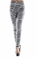 Wholesale Women's Lady Art Sexy Tigh Black & White Strip Print Leggings Leggins Pants Fashion Beetlejuice Pants 13519