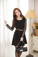 2013 winter new Korean Women Long Sleeve Gauze solid fashion dress with belt 77081 Free Shipping