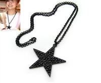 Fashion necklace.Black Star Pentagram long chain necklace sweater chain pendant wholesale free shipping CN081
