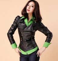 Free shipping 2013 spring/autumn Korean-style new women black PU leather jacket  ladies short Slim motorcycle leather jackets
