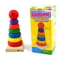 Retail !mini size : 14.5*6.5cm  baby  Wooden toys   Rainbow Tower    child Ring learning & education Toy gift