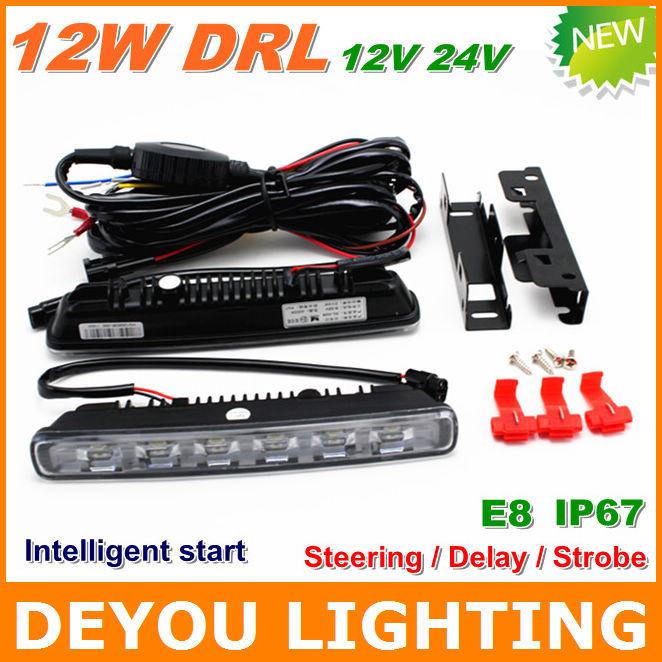 Best Selling Multifunction 12W LED Daytime Running Light Steering Delay Storbe IP67 E8 12V 24V LED DRL Fog car light(China (Mainland))