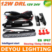 Best Selling  Multifunction 12W LED Daytime Running Light  Steering Delay Storbe IP67  E8 12V 24V LED DRL Fog car light