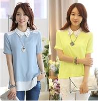 2014 korean summer fashion female shirt patchwork short sleeve chiffon women blouses chifon blusas femininas camisa