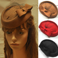 Wholesale Mixed Color 3pcs/lot Womens Lady Vintage Fascinator Wool Hair Pillbox Hat Bowknot Veil Felt Cocktail Party Socialite