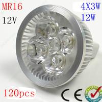 Free shipping 120pcs/lot High Power Dimmable MR16 GU10 E27 E14 GU5.3 4x3W 12W Spotlight Lamp CREE LED 12V Light Bulb Downlight