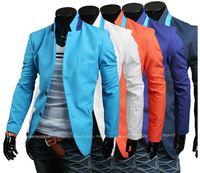 hot sale casual candy color slim two button men's suit / new arrive novelty men Blazer orange white sky blue  navy blue M -XXL