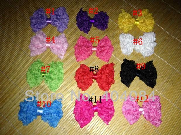 Trial order Baby girls headdress Mini Chiffon rose flower bow 12pcs/lot DIY headband hair accessories(China (Mainland))