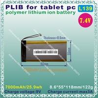 [L139] 7.4V,7000mAH,[8655118] PLIB (polymer lithium ion battery) Li-ion battery  for tablet pc,GPS,mp3,mp4,cell phone
