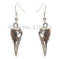 3D Raven Crow Bird Skull Charm Earrings