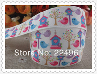 2013 new arrival 7/8'' 22mm bird and house printed grosgrain ribbon animal ribbon hairbow ribbon 10 yards