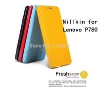 Free shipping 5pcs original Nillkin Flip leather case Fresh series for  Lenovo P780 New leather +retail box