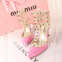 2013 Spring and Summer Fashion Rivet Pointed Toe High-Heels T-Belt of Women's Wedding Shoes with Rhinestones Black and Pink