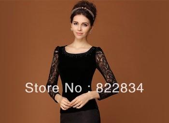 2013 spring and autumn all-match shirt slim elegant velvet lace long-sleeve shirt basic blouse black purple navy AW13B001