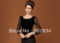 2013 spring and autumn all-match shirt slim elegant velvet lace long-sleeve shirt basic blouse black purple navy AW13B001