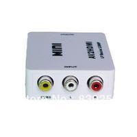 New HD Video CVBS to HDMI Converter mini AV to HDMI 1080P AV2HDMI Signal Converter for TV, VHS VCR, DVD Records Free Shipping