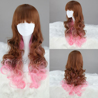 Free Shipping 60cm New long Curly Multi-color Cheap Party wigs for women Cosplay costume wig Synthetic Fiber