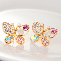 Min.order is $10 (mix order)Free Shipping Fashion Full Rinestones Bowknot Earring Butterfly Earrings