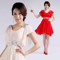 Free Shipping 2014 New Hot Sale Women Sweet High Quality Short  Design Chiffon Prom Gown Evening Dress