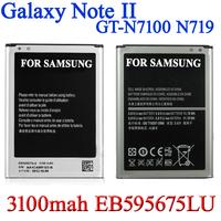 Top quality 3100mAh EB595675LU original Logo Battery for Samsung Galaxy Note II 2 GT N7100 N7102 N7108 N719  Bateria AKKU