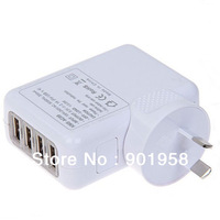 5V 2A AU plug 4 usb port wall charger for iphone 5 Samsung Galaxy S2 S3 S4 mobile phone Free Shipping