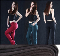 26-34 PLUS Size Stretchy candy Women slim straight winter jeans thick fleece denim Skinny pencil pants Free shipping B0901