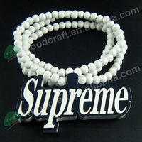 hip hop Fashion Jewelry Supreme Good Quality Wood Pendant necklaces for men for women