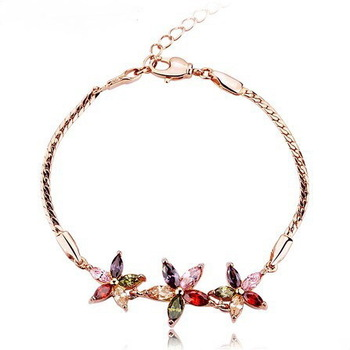 N8059 Swiss Cubic Zircon Bracelets Make with Swarovski Elements 18k rose gold plated Marquise-cut multicolored Sun Flower Woman