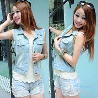 2014 New Casual Light Blue Vest Fashion Sleeveless New Hole All-match Autumn Summer Personality Women Denim Clothing