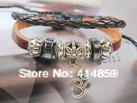 100 Brown leather bracelet Om charm bracelet Fashion jewelry Bracelet Cuff beads bracelet great gift idea for Hinduism