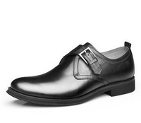 size39-44 men's genuine leather popular british style pointed toe buckle balck brown trend of classic dress shoes