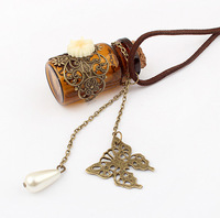 Free shipping,Min order 15$ (Mixed order) Fashion Vintage Hollow Butterfly Flower Lace Glass Wishing Bottle Charm Alloy Necklace
