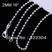 925 Sterling Silver plated Chain 925 Silver Plated Jewelry 2MM 16-24inch Beans Chain Necklace