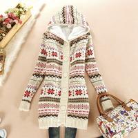 Fashion  Loose Thick Medium-long Cardigan Deer Animal Print Women's Sweaters Knitted Sweater Coat Women