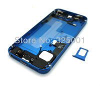 For iPhone 5 Back Cover Housing with Electroplated Middle Frame Midframe Plate Bezel Chassis Full Assembly, Blue, Free Shipping