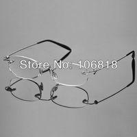 Fashion Lightweight Unisex Book Map Menu Rimless Frameless Magnifying Crystal Lenses Reading Glasses Clear Eyeglasses Case +1.50