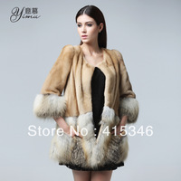 Free Shipping Ym fox fur mink fur overcoat fur coat female 1319