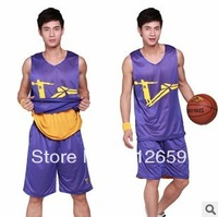 Hot selling 2013 100% Polyester plus size breathe freely double face jersey and shorts basketball sleeveless shirts for men