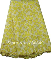 Free Shipping African French Lace fabric,Afrcan Lace fabric,  Embroidery  African lace , 5yards/piece,YELLOW